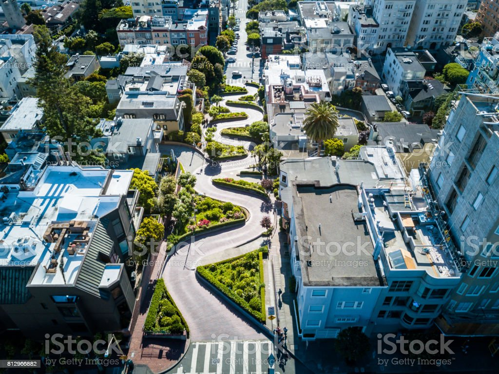 Aerial view of the Lombard street in San Francisco stock photo