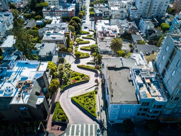 Vista aérea de la calle Lombard en San Francisco - foto de stock