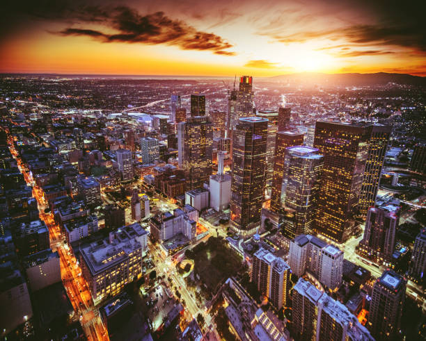 aerial view of the Los Angeles downtown at dusk stock photo