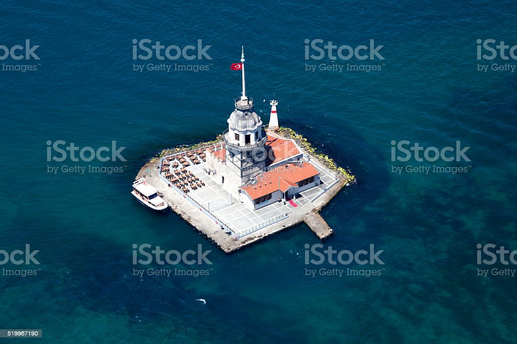 Aerial view of The Maiden's Tower stock photo