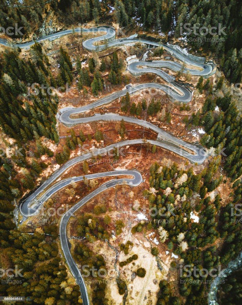 aerial view of the maloja pass in switzerland stock photo