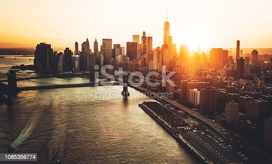 aerial view of the manhattan skyline
