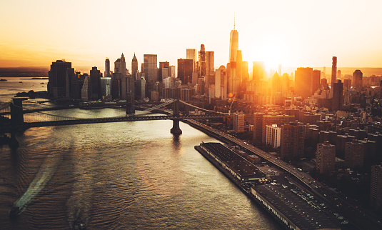 Aerial View Of The Manhattan Skyline Stock Photo - Download Image Now