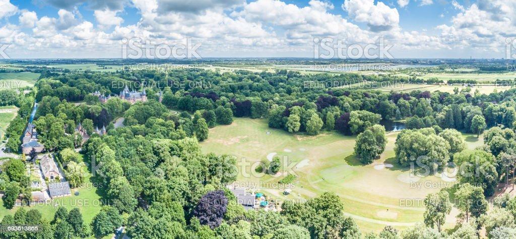 Aerial view of the medieval castle De Haar in Netherlands stock photo