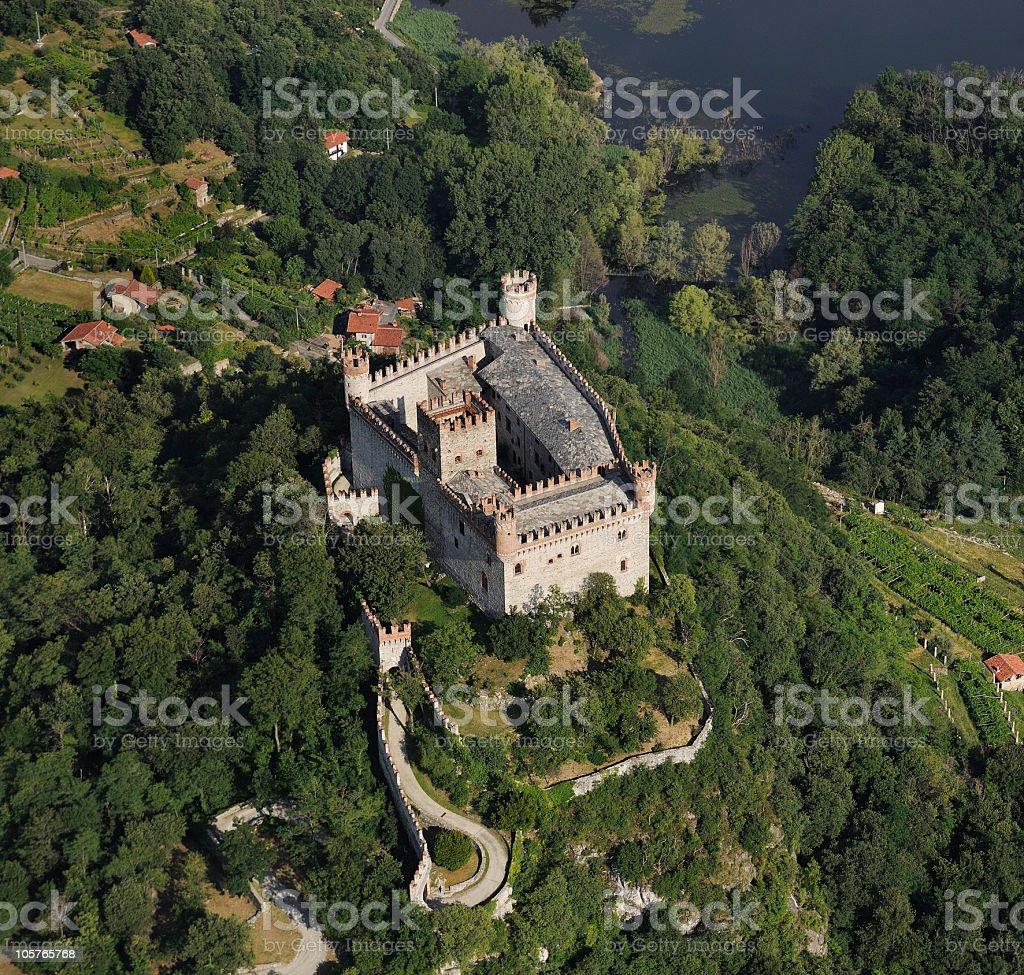 Aerial view of the medieval castle Montalto Dora,  Turin, Piedmont stock photo