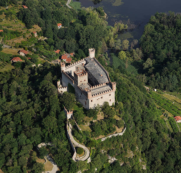 Aerial view of the medieval castle Montalto Dora,  Turin, Piedmont stock photo