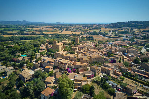 Aerial view of the medieval village of Pals, Girona, Catalunya stock photo