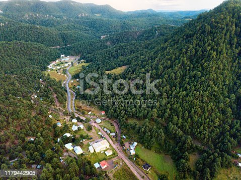 Aerial View of the Mexican Village of Samachique in Chihuahua near the Copper Canyon
