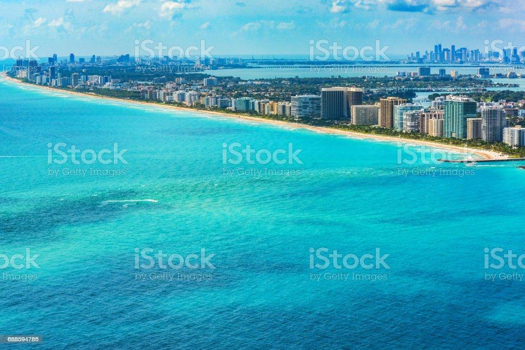 Aerial View of the Miami Florida Metropolitan Area stock photo