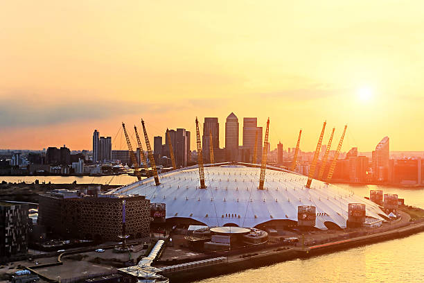 Aerial view of The Millennium Dome at sunset​​​ foto