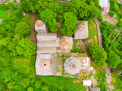 Aerial View of the monastery Sanahin and ruins, sight of Armenia