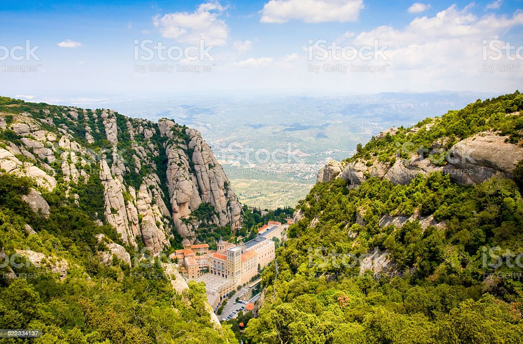 Aerial view of the Montserrat monastery stock photo