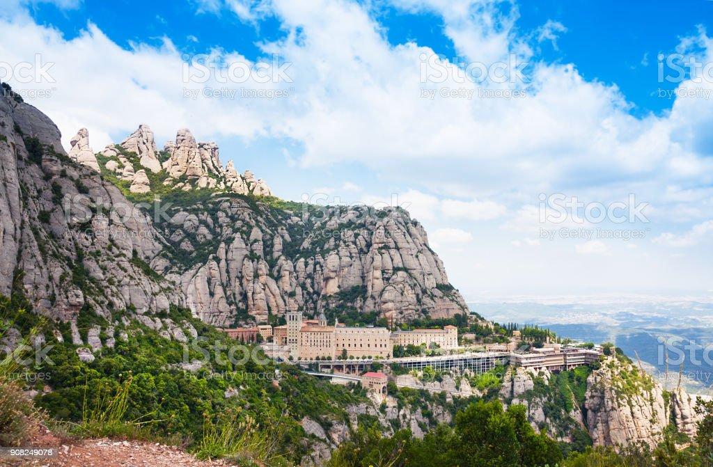 Aerial view of the Montserrat monastery. Santa Maria de Montserrat is a Benedictine abbey located on the mountain of Montserrat, in Monistrol de Montserrat, in Catalonia, Spain stock photo