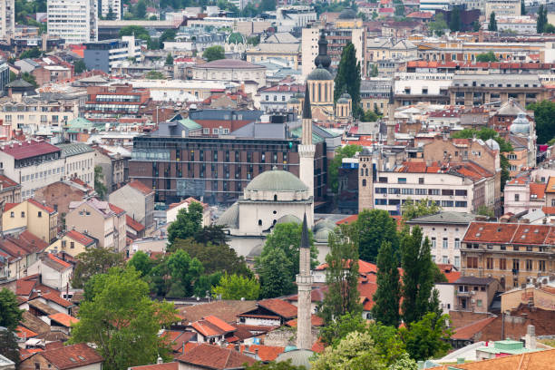 Aerial view of the Mosque of Gazi Husrev-beg in old town Sarajevo stock photo