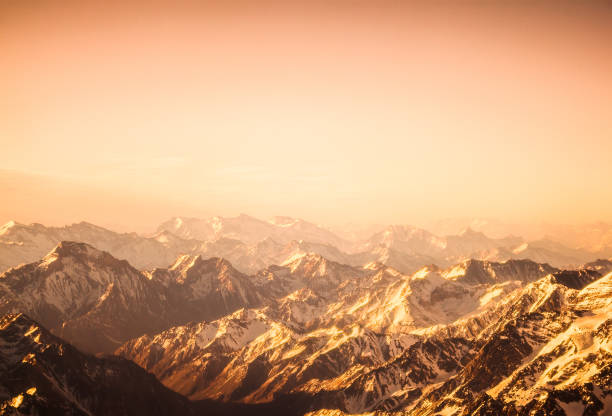 aerial view of the mountains - sepia stock photos and pictures