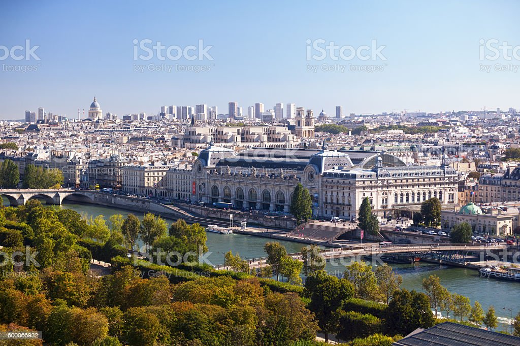Aerial view of the Musée d'Orsay stock photo