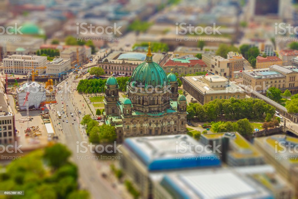 Aerial view of the Museum Island in Berlin stock photo