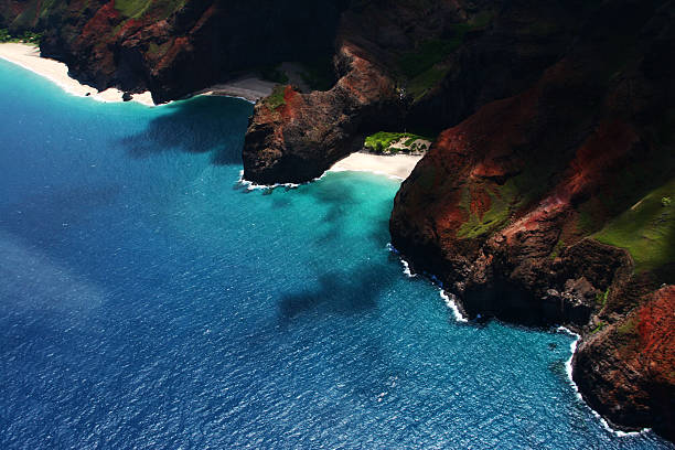 Aerial View of the Napali Coast stock photo