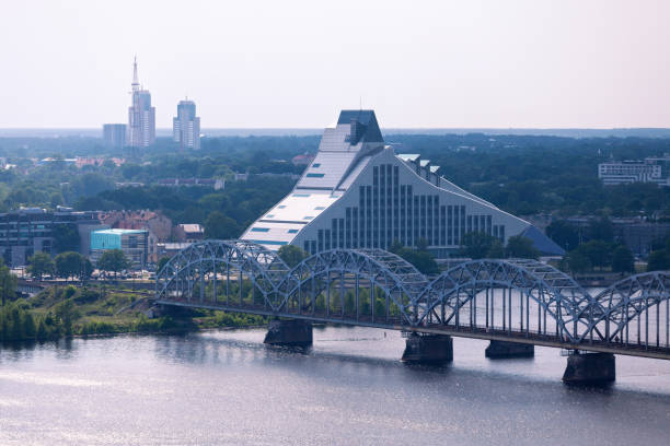 Aerial view of the National Library of Latvia in Riga stock photo
