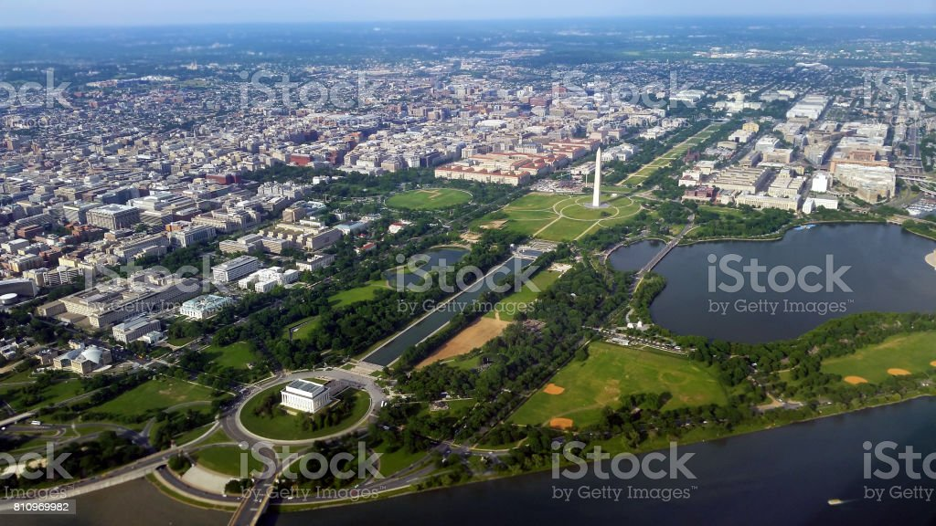 Aerial View of the National Mall in Washington, D.C. stock photo