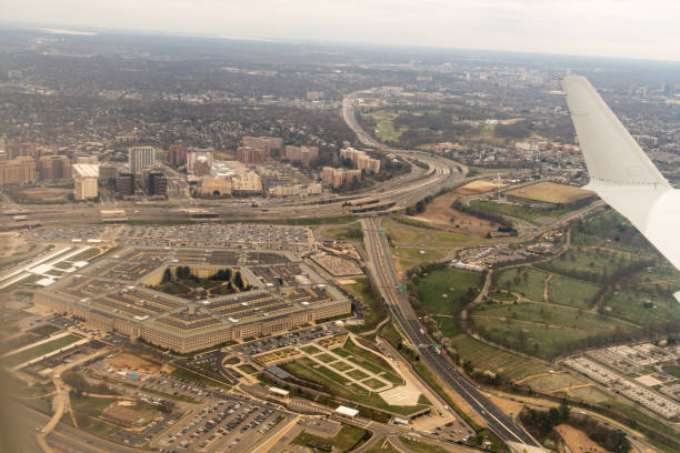 Aerial View of the National Mall in Washington, D.C, USA stock photo