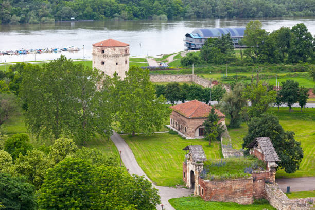 Aerial view of the Nebojša Tower at the Belgrade Fortress stock photo