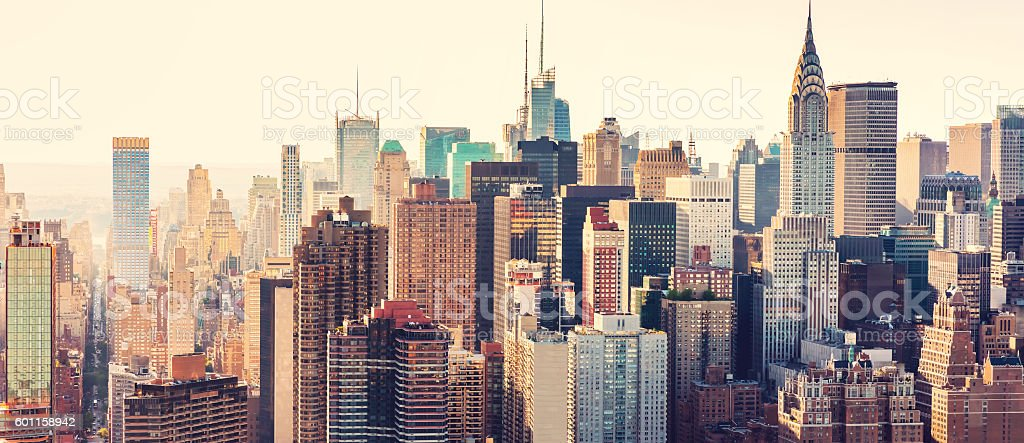 Aerial view of the New York City skyline stock photo