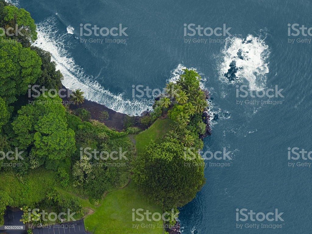 Aerial view of the north coast, Kauai, Hawaii stock photo