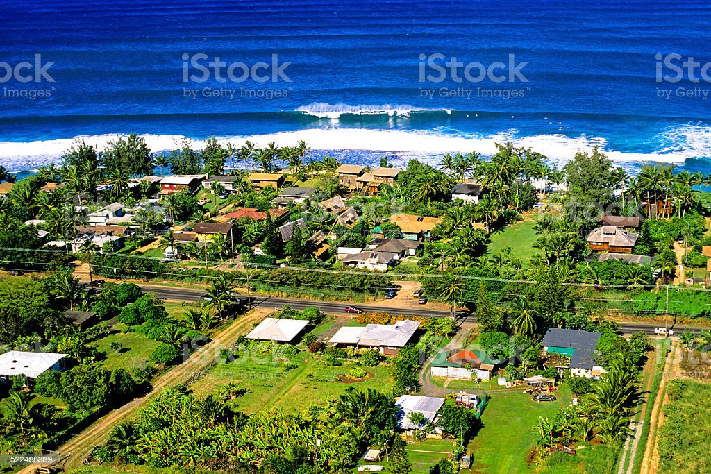 Aerial view of the North Shore stock photo