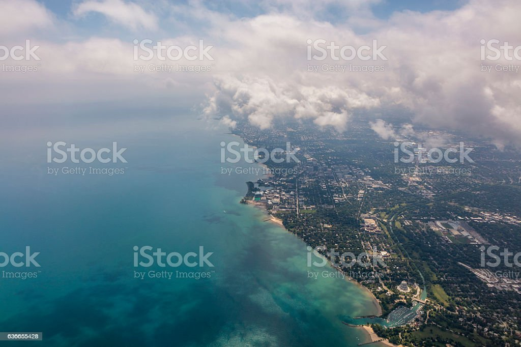 Aerial View of the North side of Chciago stock photo