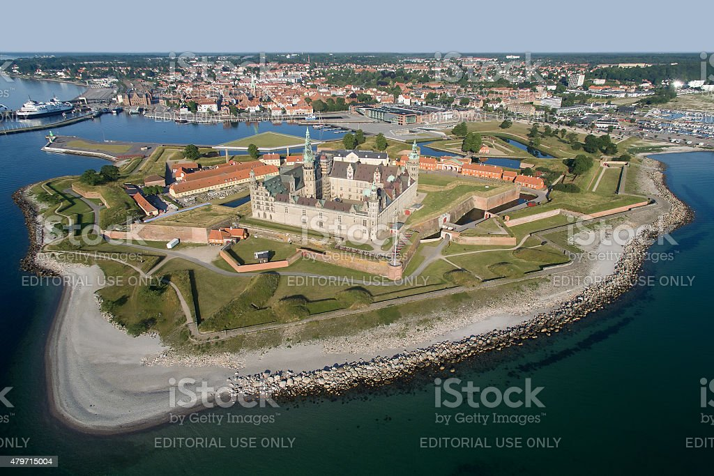 Aerial view of the old castle Kronborg, Denmark stock photo