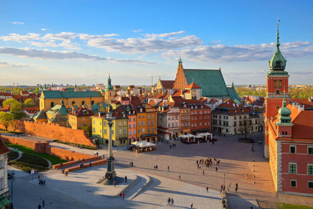 aerial view of the old city in warsaw. hdr - high dynamic range - poland stock photos and pictures
