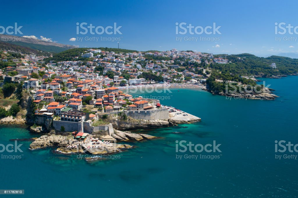 Aerial view of the old city of Ulcin stock photo