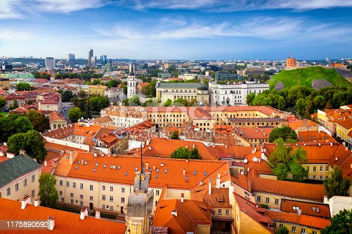 Aerial view of the old town and the modern center of Vilnius, Lithuania