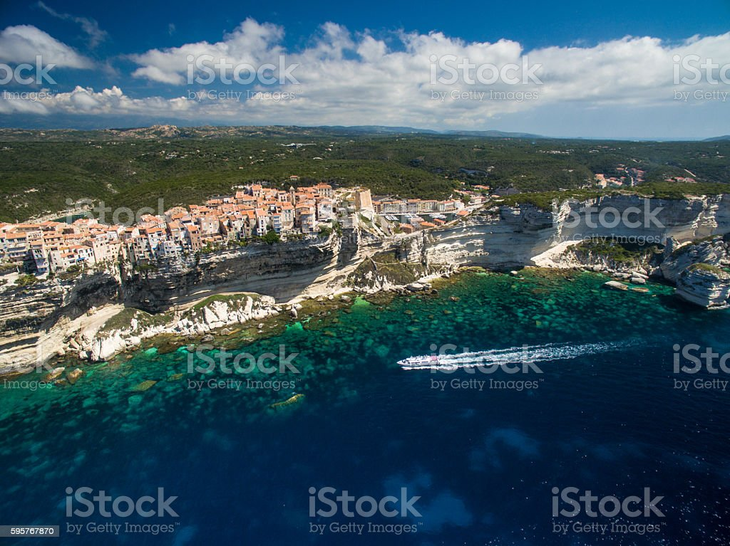 Aerial view of the Old Town Bonifacio stock photo