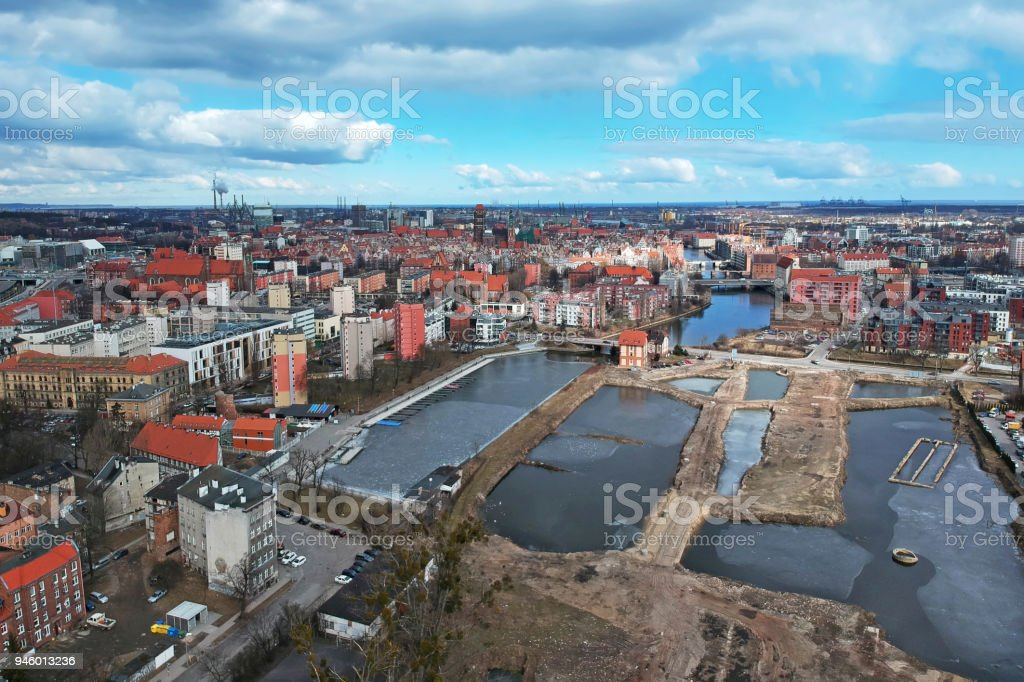 Aerial view of the old town in Gdansk stock photo