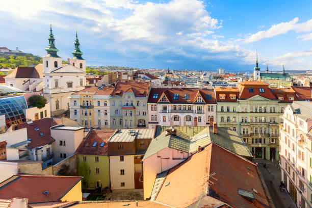 Aerial view of the old town of Brno during summer sunny day, Czech Republic. Brno is the capital of Moravia region. Aerial view of the old town of Brno during summer sunny day, Czech Republic. Brno is the capital of Moravia region moravia stock pictures, royalty-free photos & images