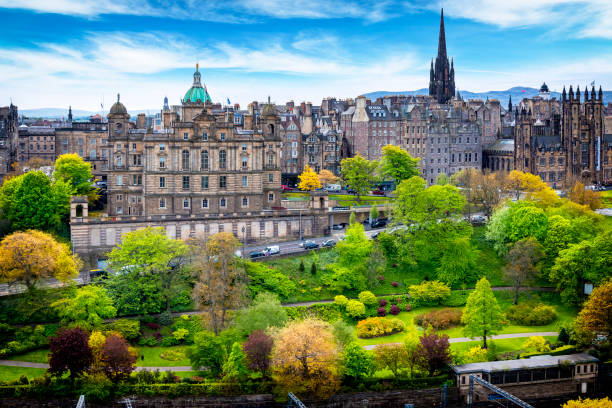 Aerial view of the Old Town of Edinburgh, Scotland, UK Aerial view of the Old Town of Edinburgh, Scotland, UK princes street edinburgh stock pictures, royalty-free photos & images