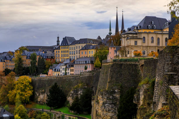 Aerial view of the old town of Luxembourg, UNESCO World Heritage Site, with its ancient wall stock photo
