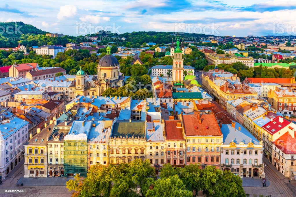 Aerial view of the Old Town of Lviv, Ukraine royalty-free stock photo