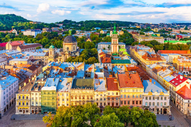 Aerial view of the Old Town of Lviv, Ukraine stock photo