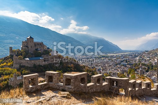 istock Aerial view of the old town of Sion city and the Valere Basilica 1251572455