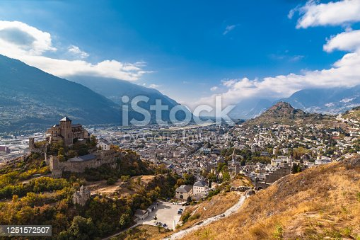 istock Aerial view of the old town of Sion city and the Valere Basilica 1251572507