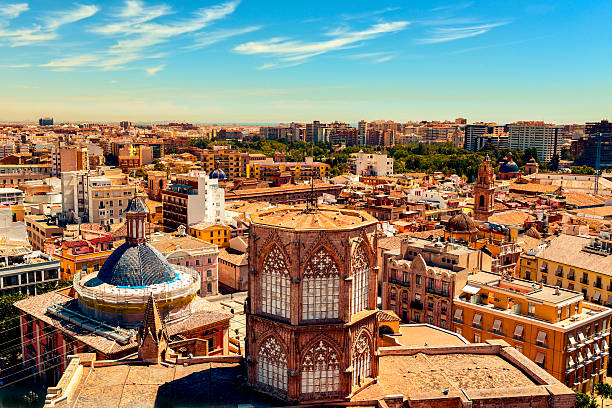 aerial view of the old town of valencia, spain - valencia stockfoto's en -beelden
