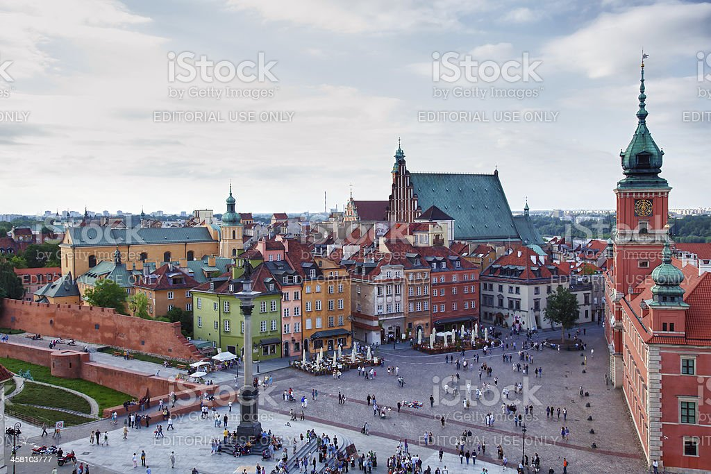 Aerial view of the old town square in Warsaw royalty-free stock photo