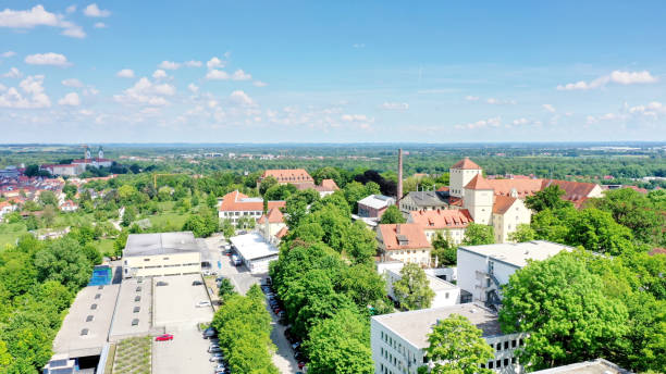 aerial view of the oldest beer brewery in the world, Weihenstephan, Freising, Bavaria, Germany stock photo