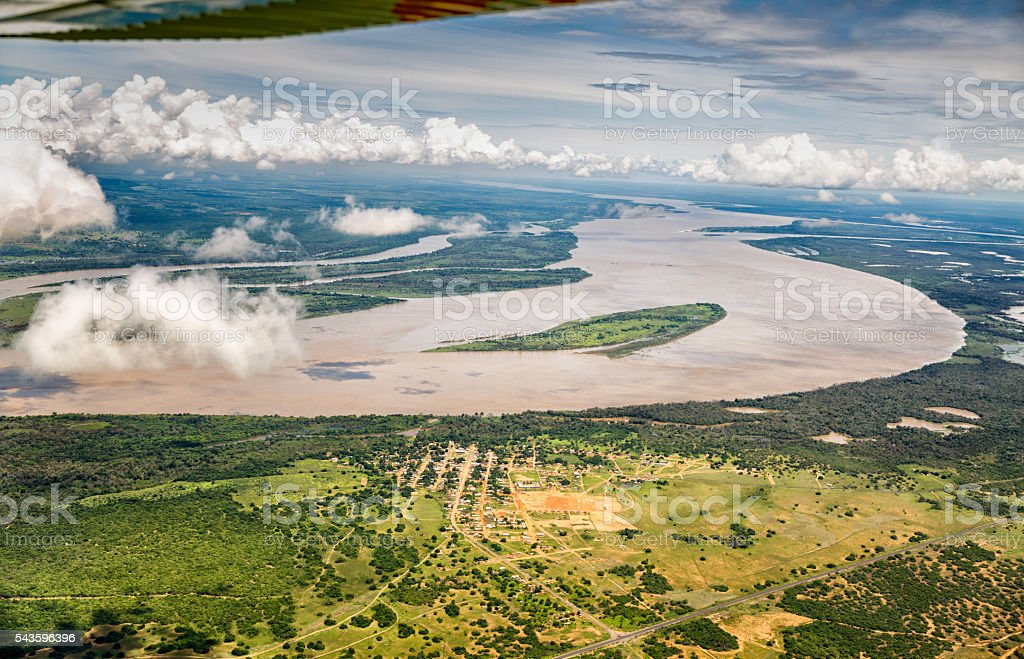 Aerial view of the Orinoco river near Puerto Ordaz, Venezuela stock photo