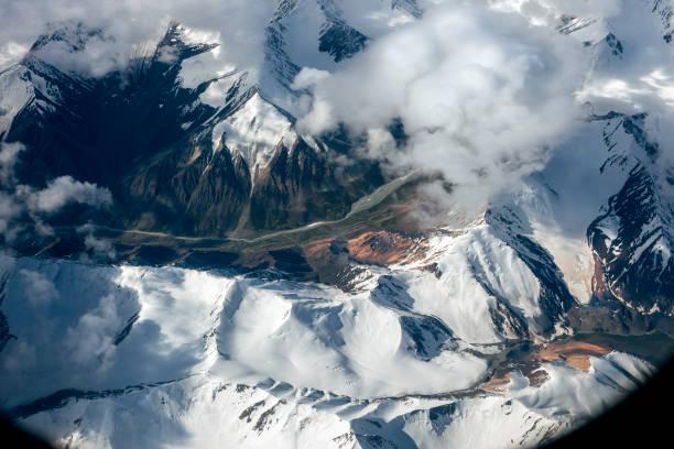 Aerial View of the Pakistan Mountains, Karakorum, Himalayas, Central Asia stock photo