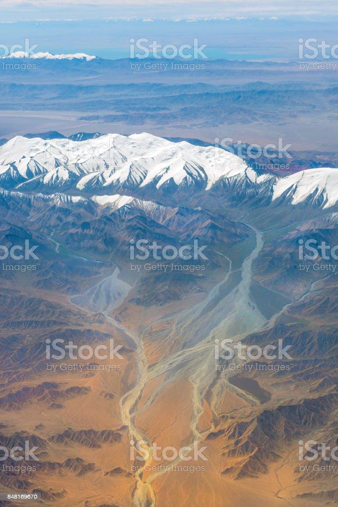 Aerial View of the Pakistani Karakorum Mountains, Asia stock photo