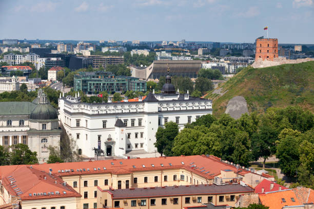Aerial view of the Palace of the Grand Dukes of Lithuania in Vilnius stock photo